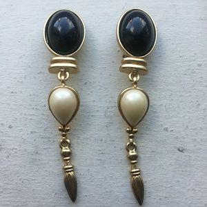 Vintage Long Clip On Gold Earrings